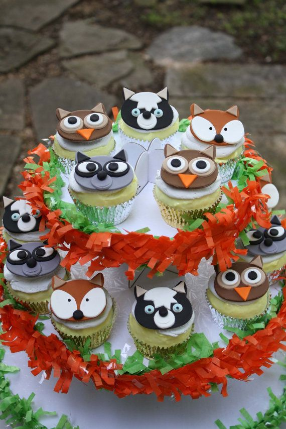 Fondant woodland animal cupcake toppers by clementinescupcakes b ho owl gateau - Decoration cupcake anniversaire ...
