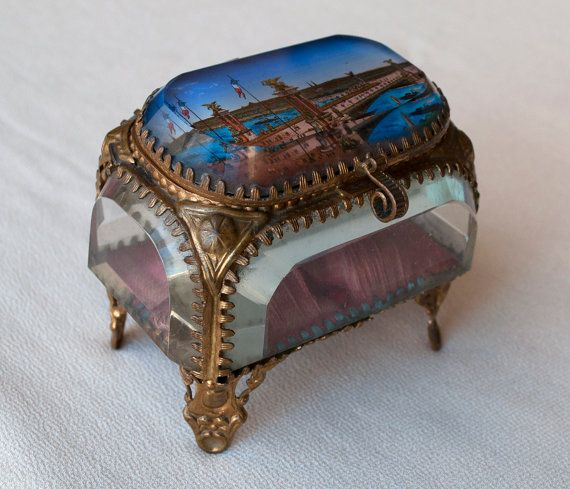Antique French Jewelry Box Brass and Beveled by FrenchQueensRansom