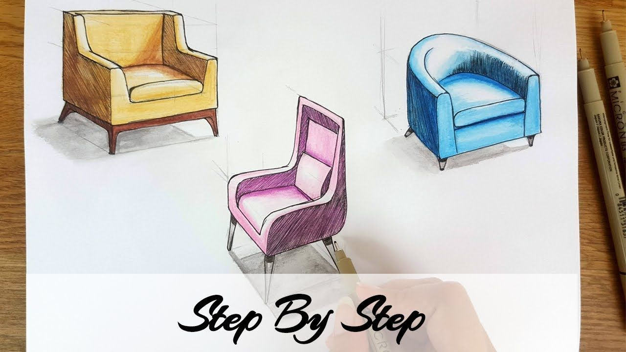 How To Draw Chairs In Perspective How To Draw Furniture In Perspective How To Draw Interiors In Persp Drawing Furniture Point Perspective One Point Perspective
