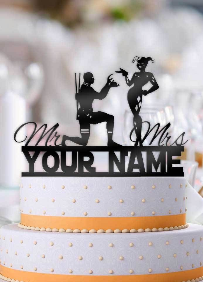 Personalized Deadpool Proposing To Harley With Name Wedding Cake Topper Beegifts