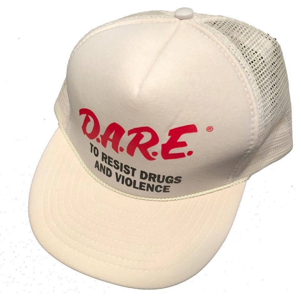 Vintage 90s DARE To Resist Drugs Made In USA Snapback Hat White  fashion   clothing 82ac413580bf