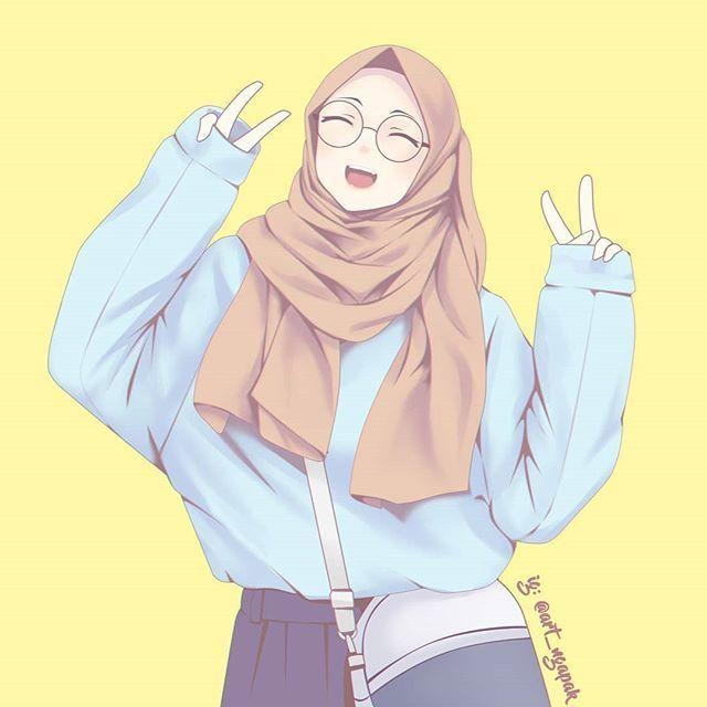 Gambar Kartun Muslimah Gembira Cocok Untuk Wallpaper Wa Fb Dan Ig Gambar Gambar Kartun Ilustrasi Gadis