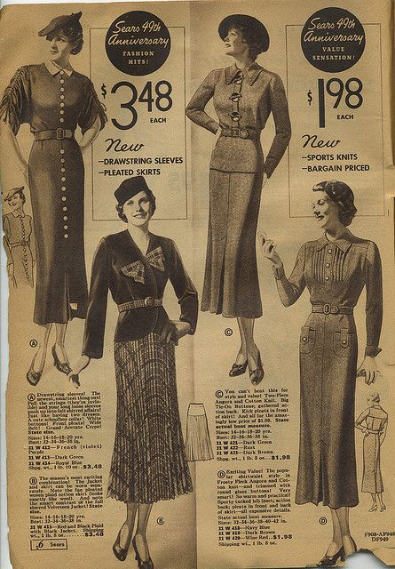 Sears Catalogue 1935 Womens Skirts Blouses Suits Dresses By