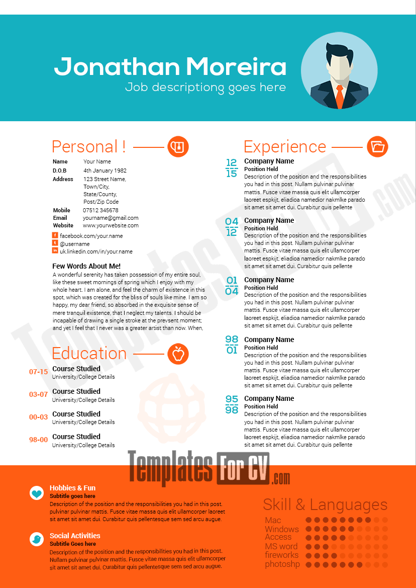 Professional Resume Template Preview Image  Things To Do