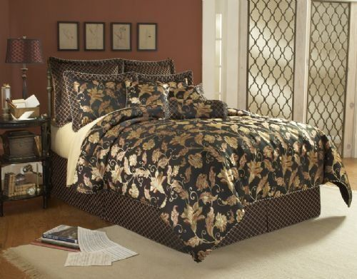 Gentry 14 Piece Super Pack Comforter Set Black By Southern Textiles 214 95 This Elegant Set Adds Beaut Bed Comforter Sets Luxury Bedding Sets Comforter Sets