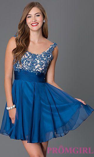 cd2c25894b50 Short Lace Chiffon Alyce Homecoming Dress at PromGirl.com Maquillaje