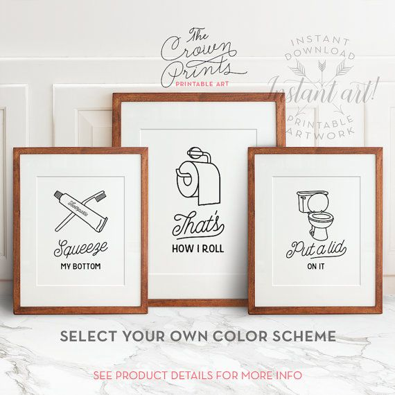 funny wall art, bathroom art, printable art, set of 3, bathroom wall