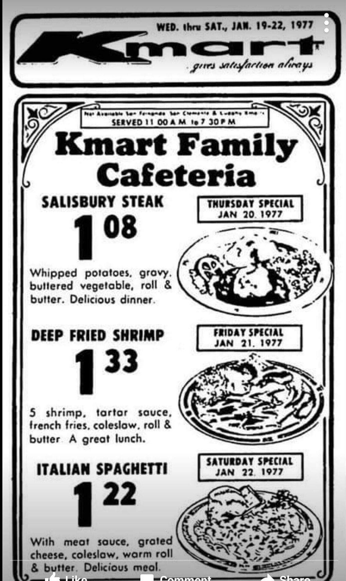 1970s Vintage Kmart Family Cafeteria Ad January 1977 Retro