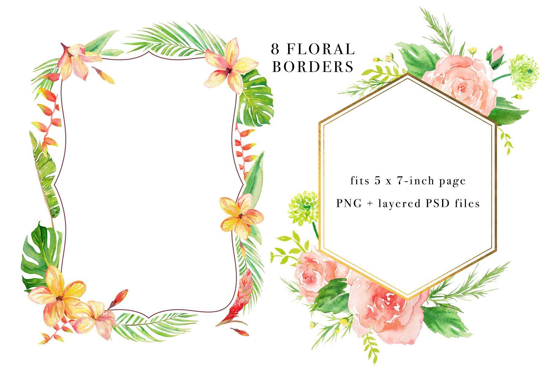 Floral borders watercolor design set floral border