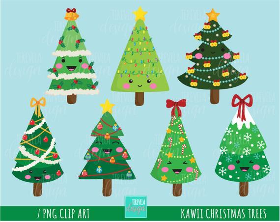 Christmas Trees Clipart Christmas Clipart Commercial Use Etsy In 2020 Christmas Tree Clipart Christmas Graphics Kawaii Christmas