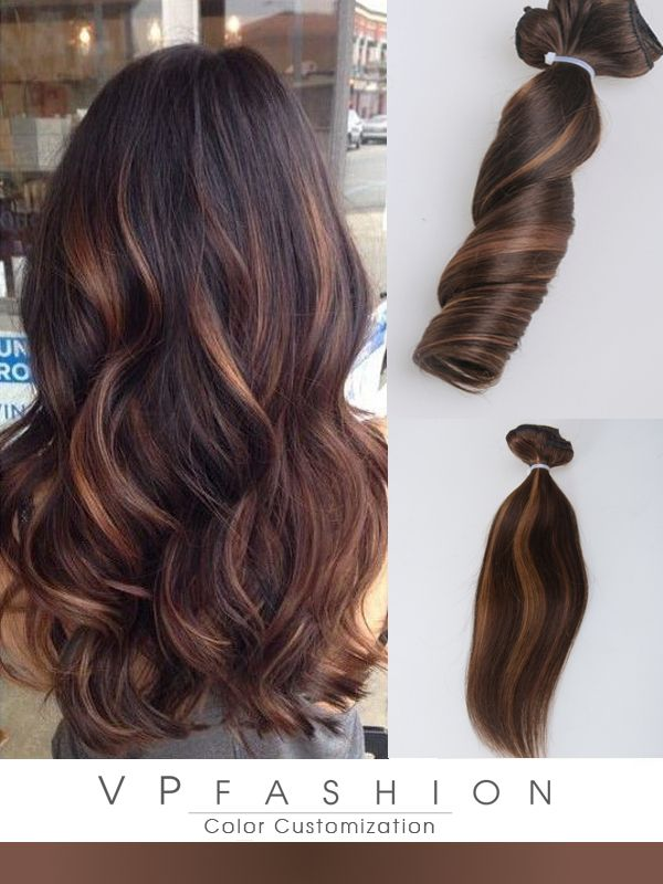 Medium Brown With Highlights Indian Remy Hair Extensions