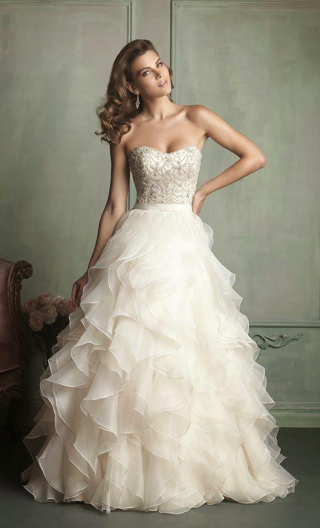 Sleeveless top with flowy full bottom wedding dress | Vowel Renewal ...