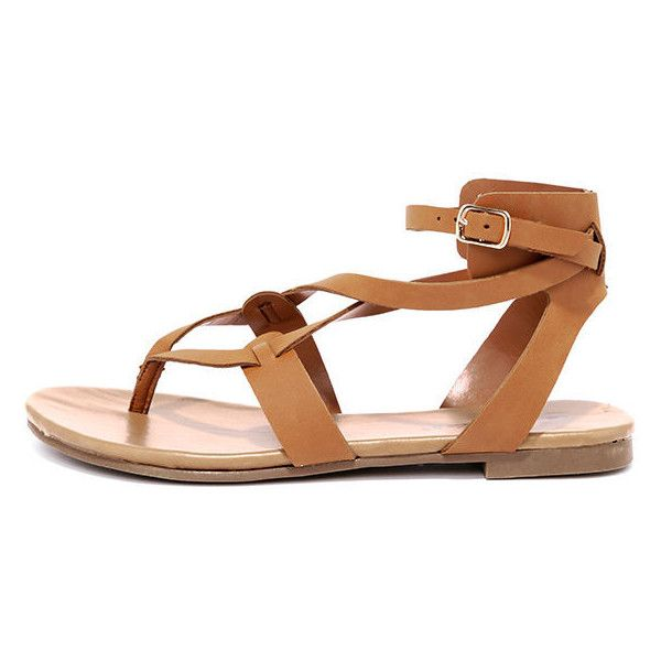 7b4aff480a Boho Babe Tan Thong Sandals ($19) ❤ liked on Polyvore featuring shoes,  sandals, brown, vegan sandals, strap sandals, breckelles sandals, strappy  thong ...
