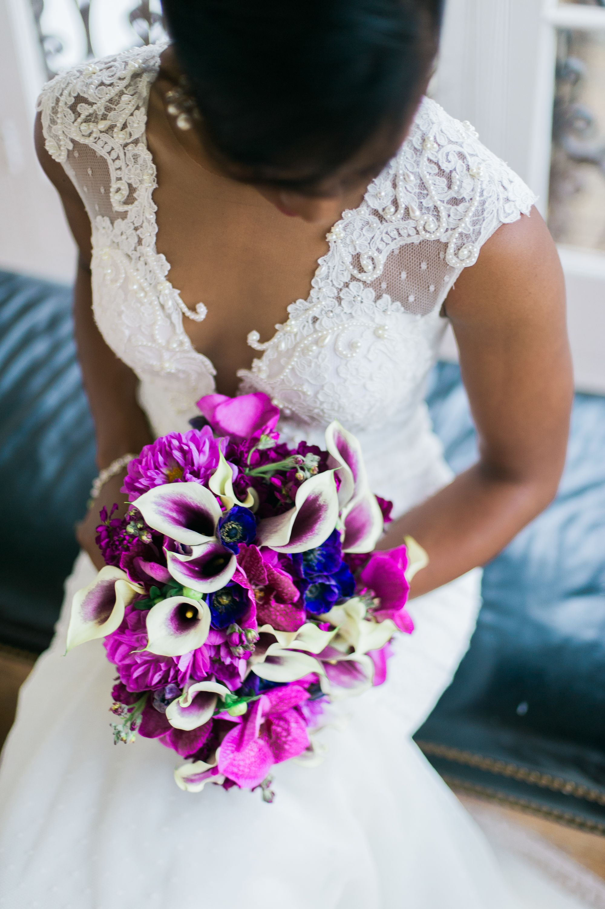 Purple and Fuchsia Bouquet With Calla Lilies Purple