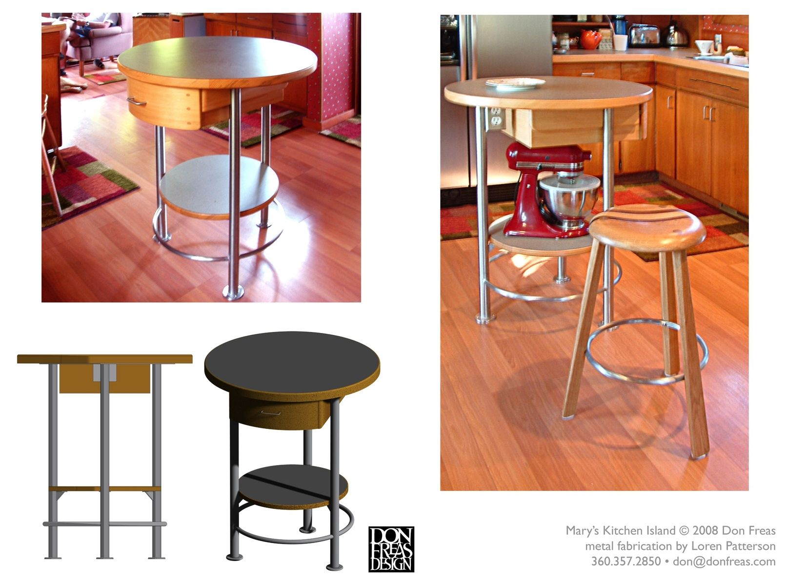 Kitchen Island in Stainless Steel and Wood