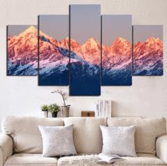 5 Panel Framed Sunset Mountain Landscape Wall Canvas Art