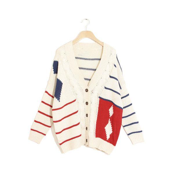 Loose Twist Contrast Color Stripe Cardigan ($42) via Polyvore
