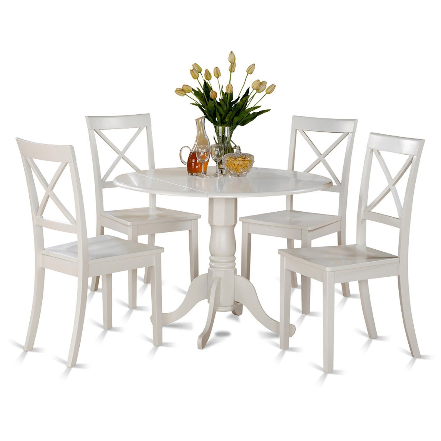 East west furniture dlbowhiw piece kitchen table set linen