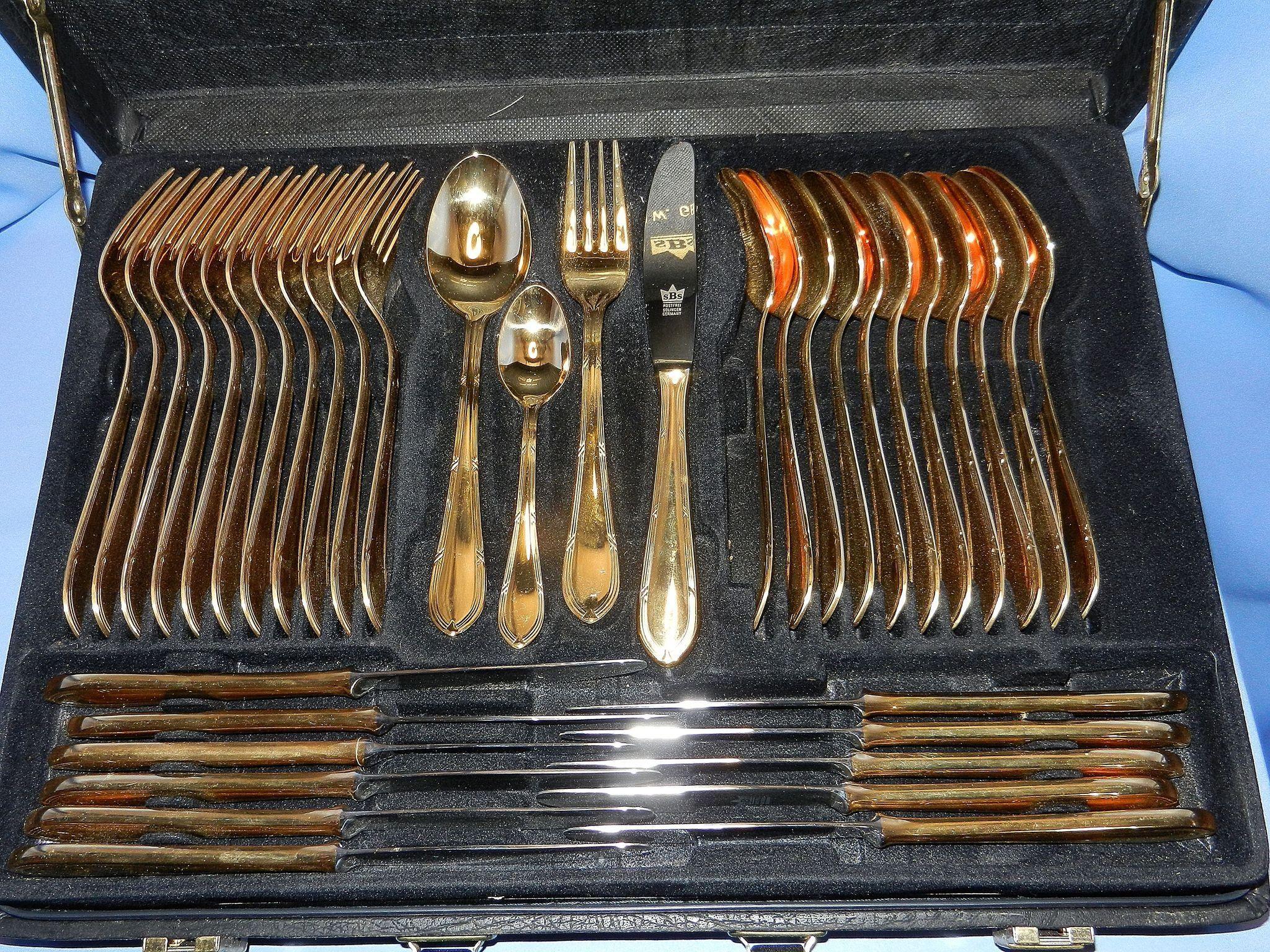 Vintage Besteck Solingen Germany 23/24 Kt Gold Plated Cutlery Set ...