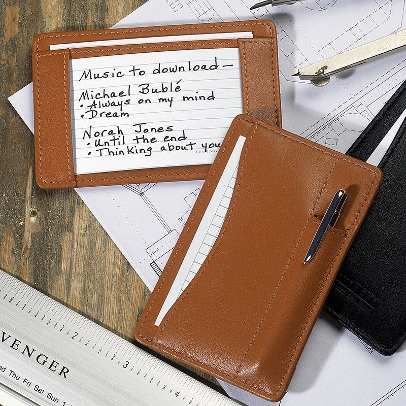Slim Wallet Writer With Pen - Leather Wallet, Writing Pad ...