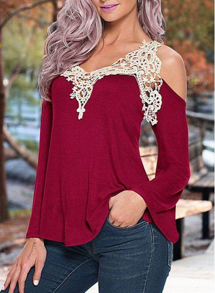 Cold Shoulder Lace Patchwork Color Block T-Shirt | Woman, Clothes and  Clothing