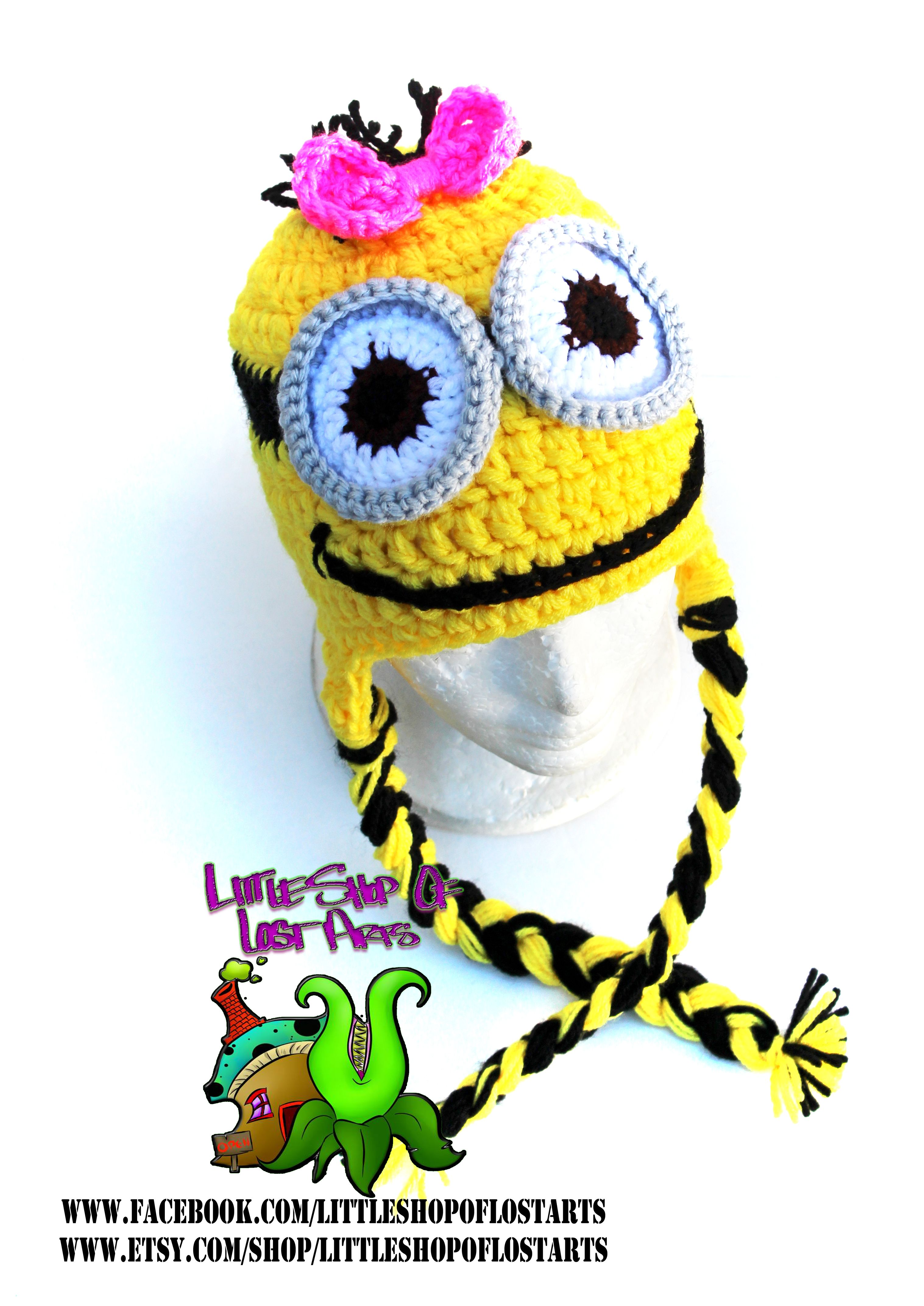 Yellow minion crochet hat with a pink bow double threaded and yellow minion crochet hat with a pink bow double threaded and twice as thick over bankloansurffo Image collections