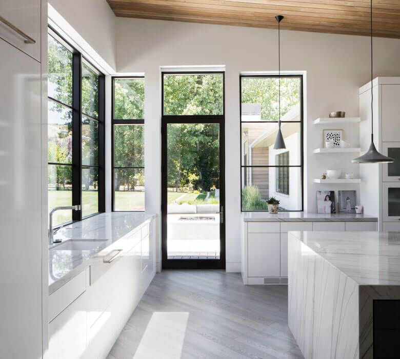 White Kitchen, black frame windows and door, light filled and airy