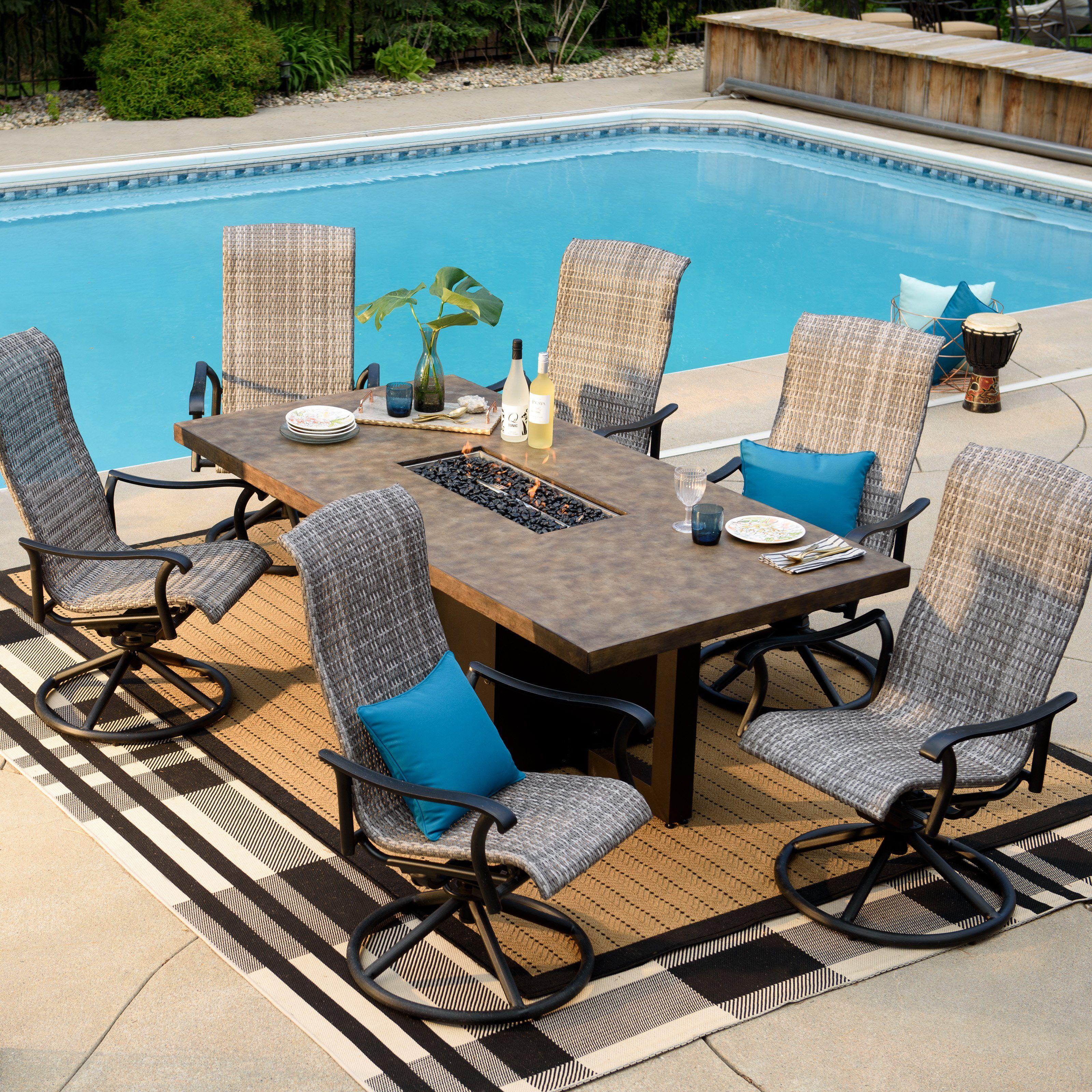 outdoor belham living denton 7 piece fire table patio dining set