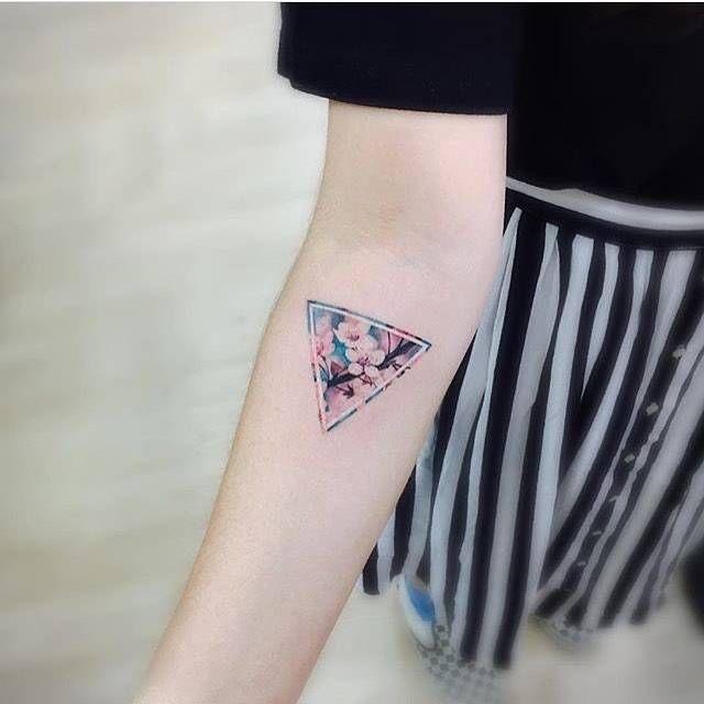 093b7934ffc83 Cherry blossom triangle tattoo. | Style | Triangle tattoos, Miami ...