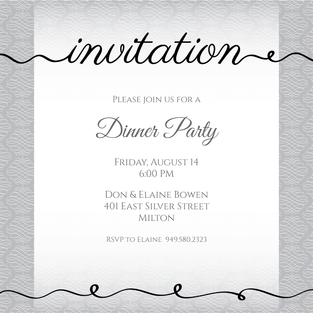 Ribbon Writing - Dinner Party Invitation Template (Free