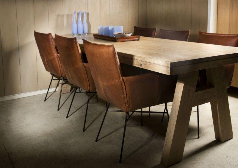 Leren eetkamerstoel Vasa - Natuurlijke kleuren, Massief hout en ...