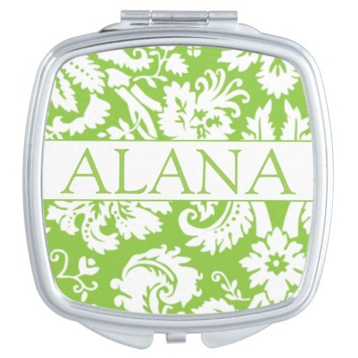 Elegant Green Damask Compact Mirror - Personalize  #green #damask #victorian #zazzle #wedding #makeup #teens #bridesmaids