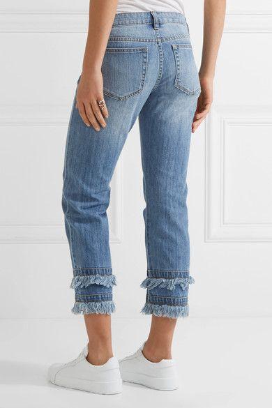 Frayed Cropped Boyfriend Jeans - Indigo Michael Kors 94cSpn