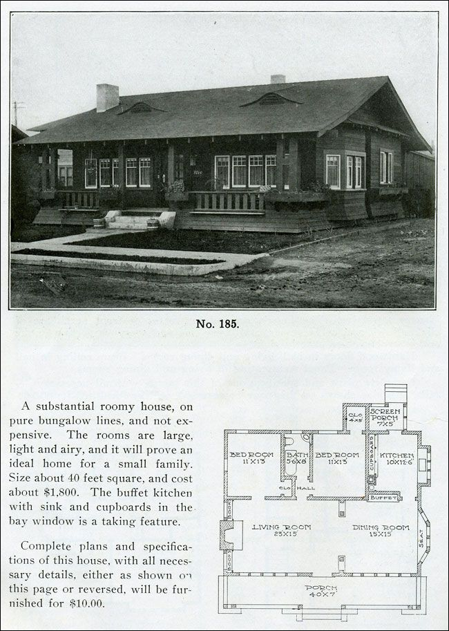 1910 - Wilson - The Bungalow Man - Design No  185 - Small