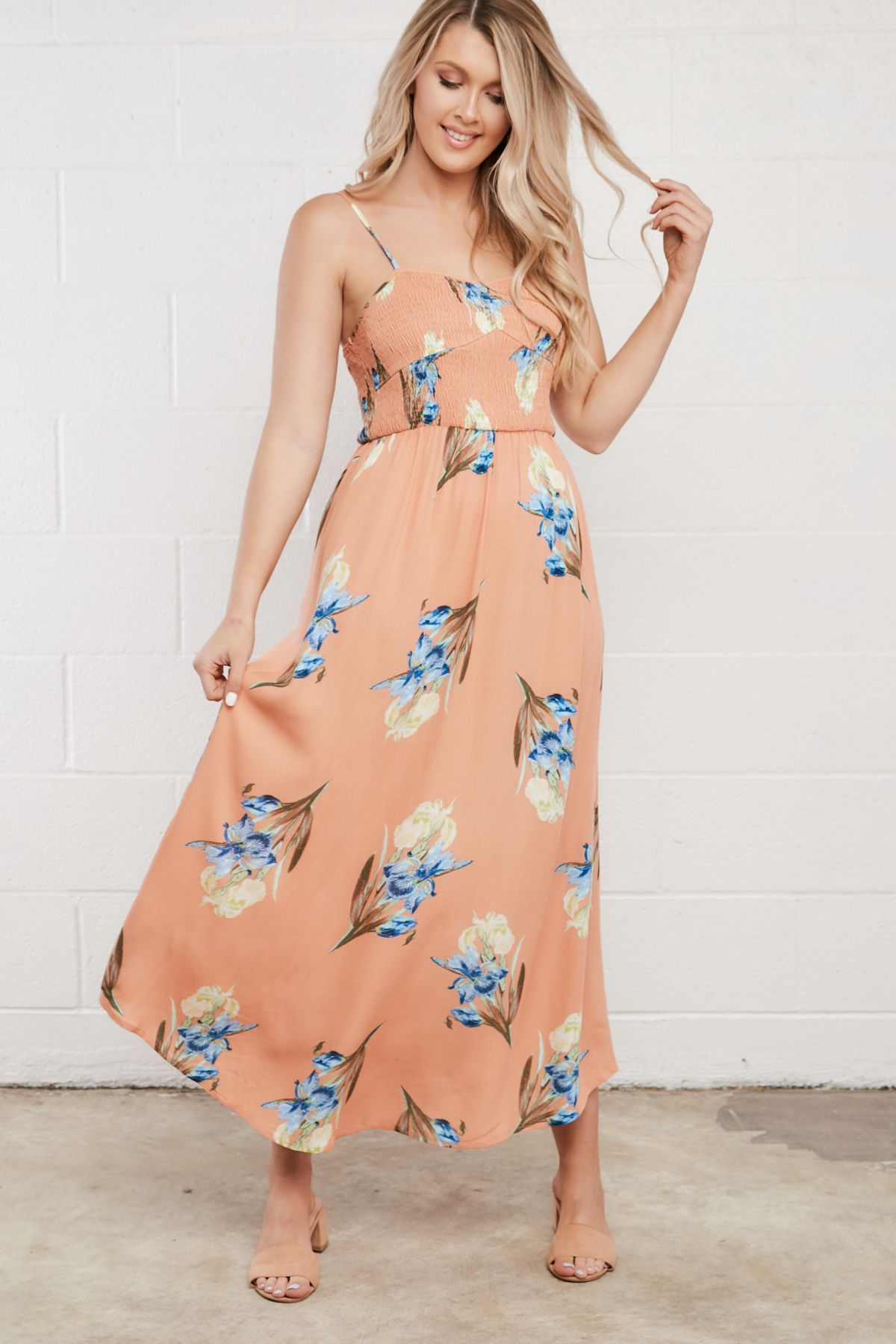Peach floral smocked maxi dress spring summer trends