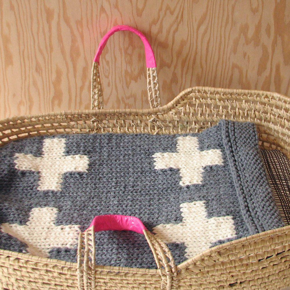 Knitted Cross Baby Blanket