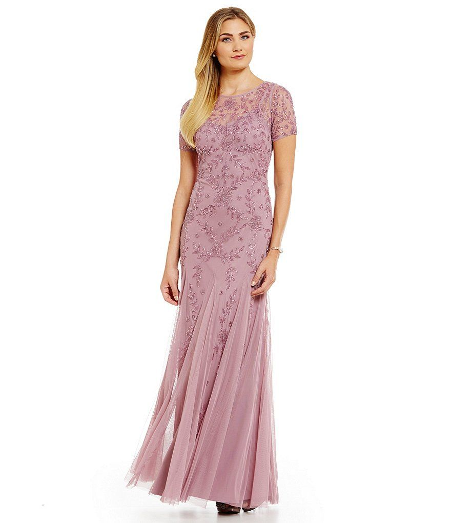Dusty Pink:Adrianna Papell Floral Beaded Gown | Wedding Party Attire ...
