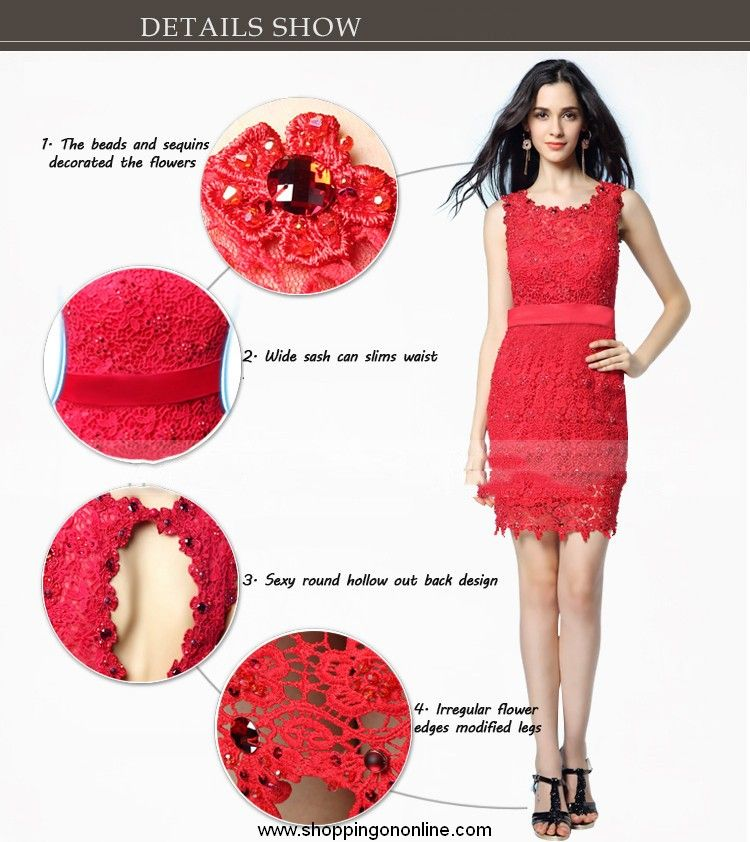 Red Lace Prom Dress - Sheath Sleeveless $230.40 (was $288) Click ...