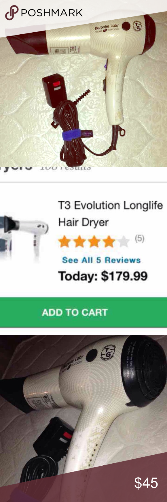 T3 Professional Hair Blow Dryer Used T3 Bespoke Labs Evolution Retail  $180-$200 Come with