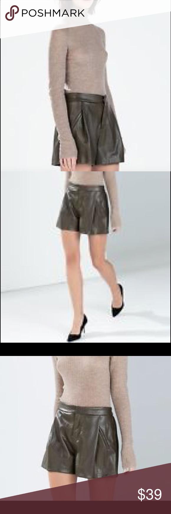 f3c62162 ZARA DARK GREEN FAUX LEATHER SNAKESKIN SHORTS Gorgeous dark sage green faux  leather shorts!