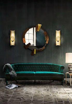 Love that emerald green velvet sofa. (avec images ...