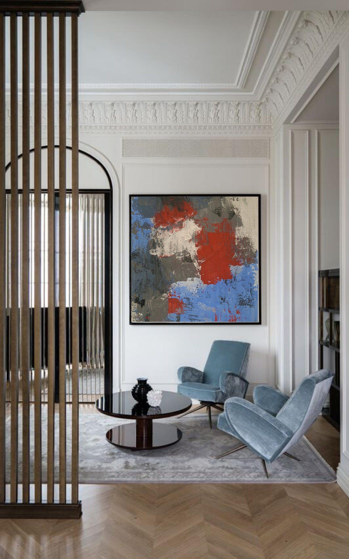 Abstract Painting Original Acrylic Canvas Wall Art Grey Blue Painting Sirius In 2020 Luxury Home Decor Modern Interior Design Decor Interior Design