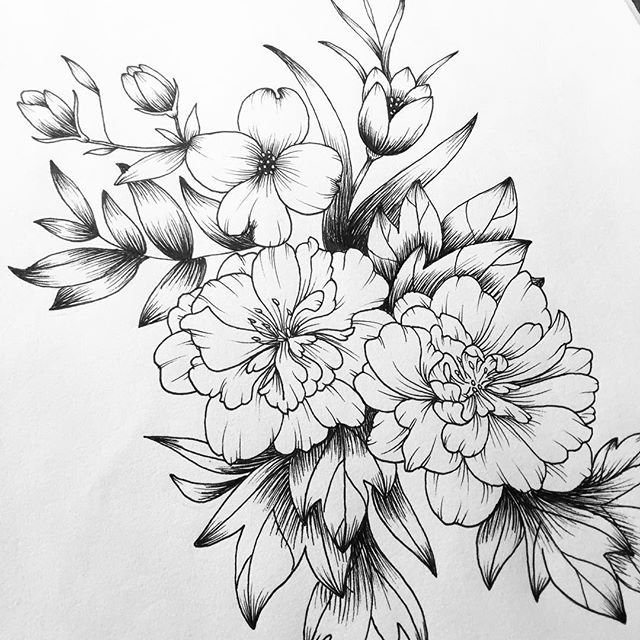 Line Drawing Flower Tattoos : Up close flowers bloom drawing tattoo line sketch