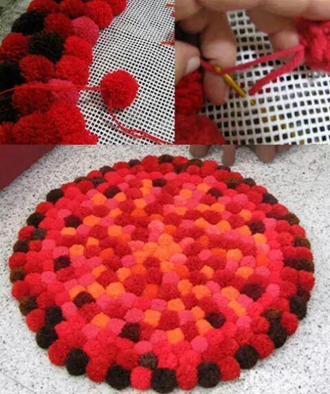 pompom other crafts to try pinterest teppiche wolle basteln und geh kelte teppiche. Black Bedroom Furniture Sets. Home Design Ideas