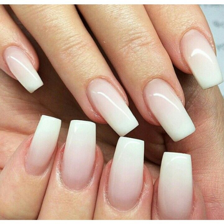 Natural White Ombre Square Nail Art Nails Ombre Nails Square Nails