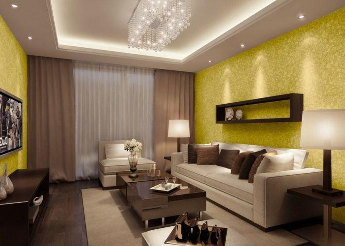 Schon Elegante Wohnzimmer Gestaltung Braun Beige  Nuancen Viele Kissen Gelbe Tapeten Ornamente Effektvoller Kronleuchter