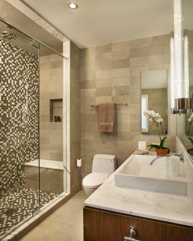 Kleines Bad Mosaik Fliesen Duschebereich Marmor Holz Unterschrank ... Badezimmer Mosaik Holz
