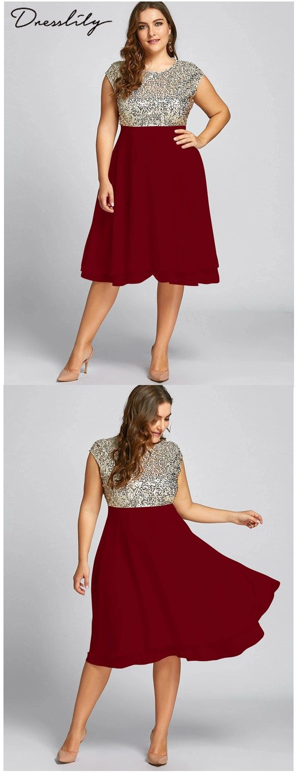Plus size sequin sparkly cocktail dress in christmas