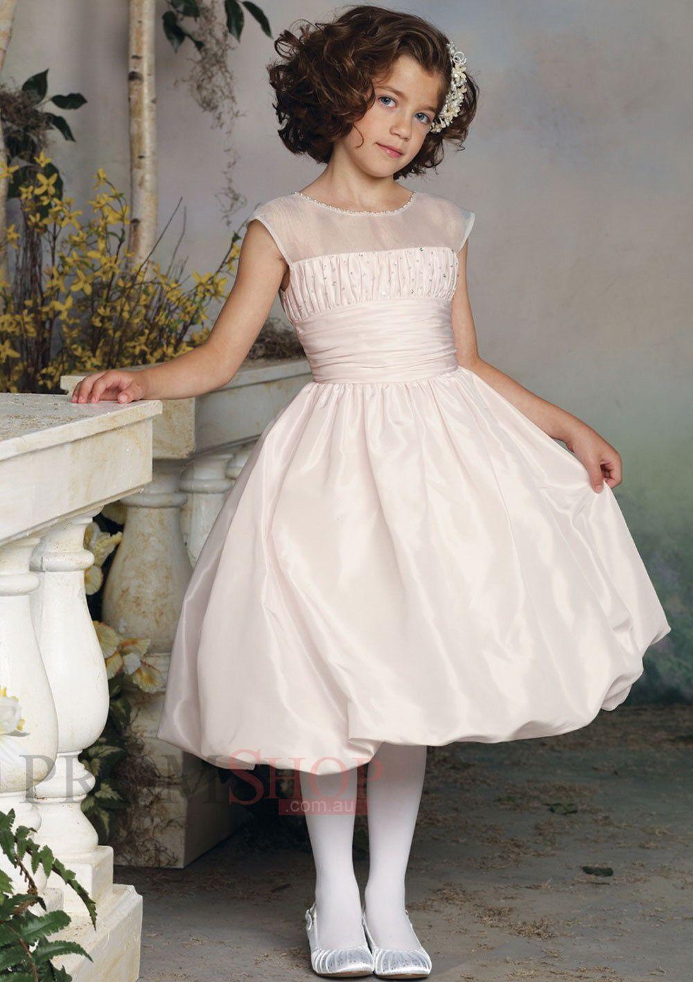 2e5399c3dbf7 Tea-length A-line Princess Taffeta Flower Girl Dresses