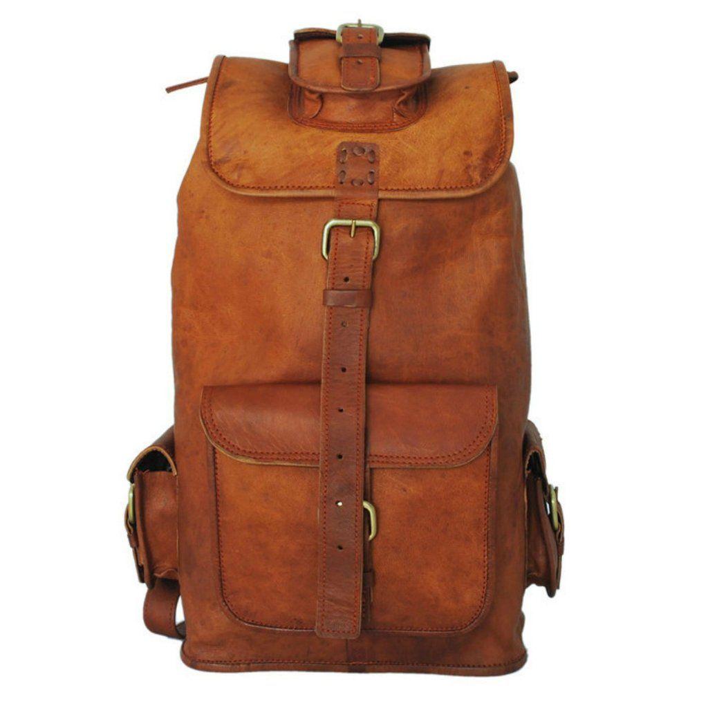 """Leather Bag Goat Men S Backpack Rucksack Vintage Laptop Brown Messenger New 16/"""""""